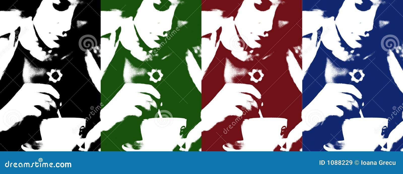 Kvinna för kaffekopp