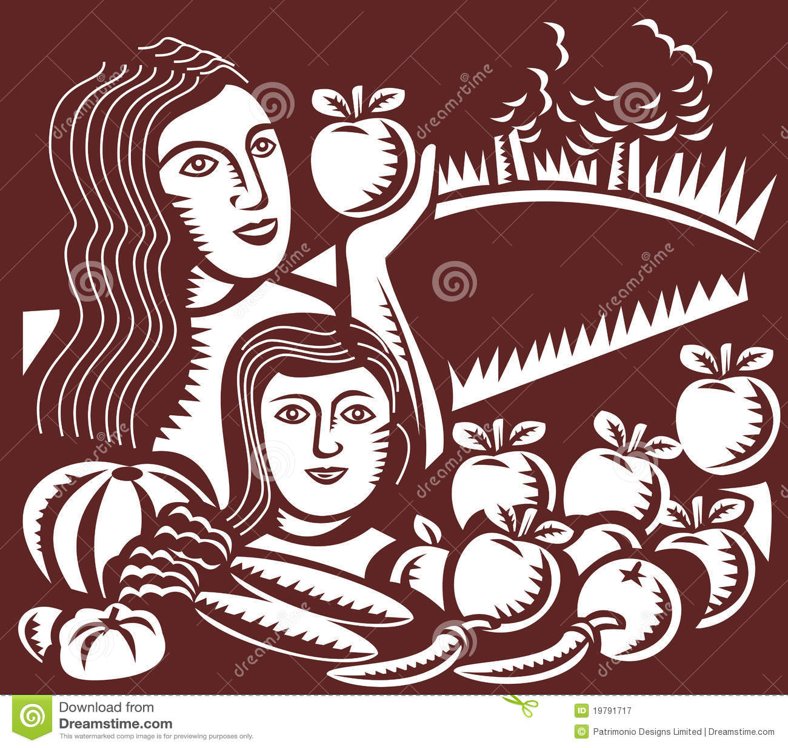 Kvinna för moder för äpplebarnholding