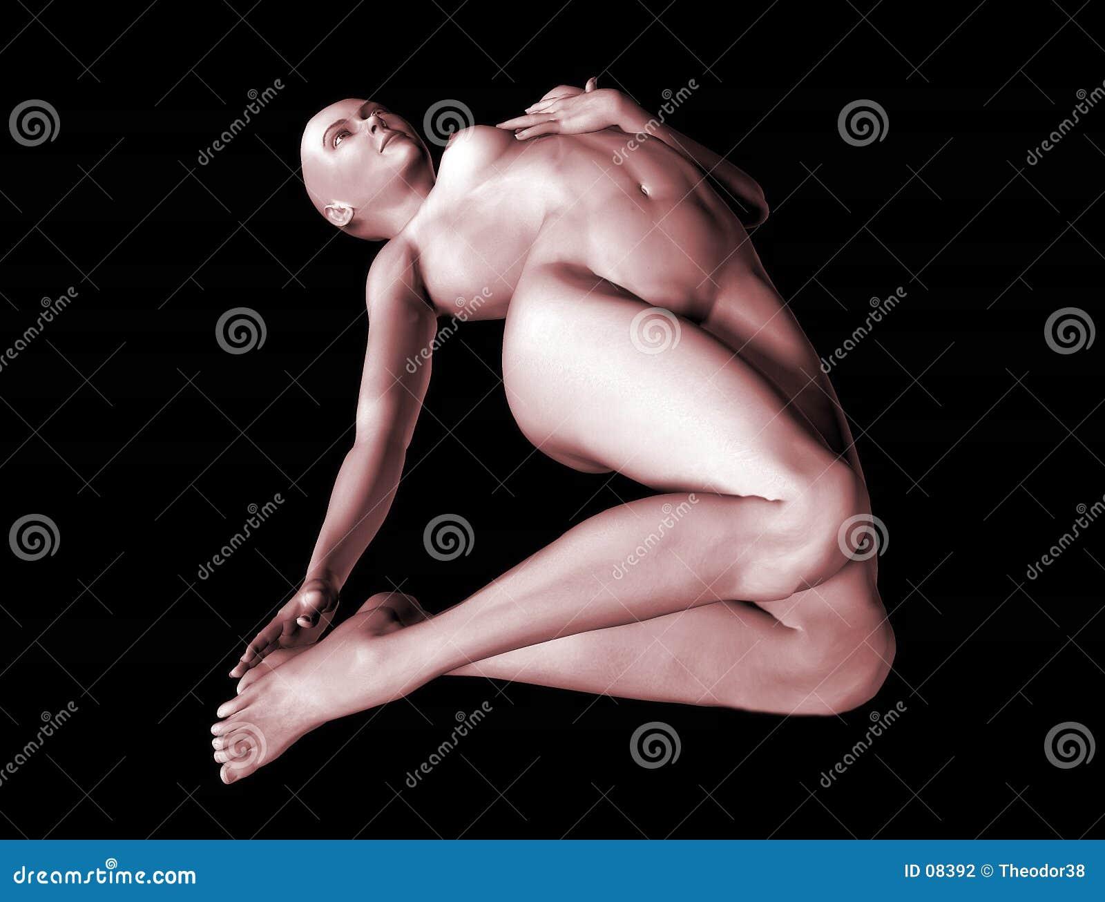Kvinna för nakenstudie 3 3d
