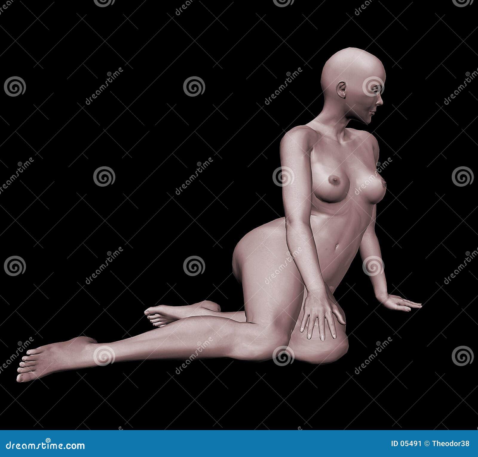 Kvinna för nakenstudie 3d