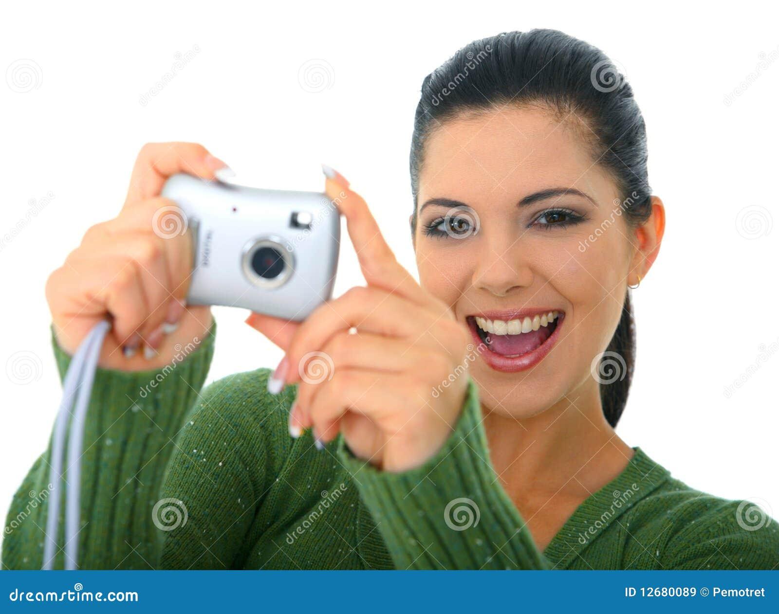 Kvinna för ta för bild