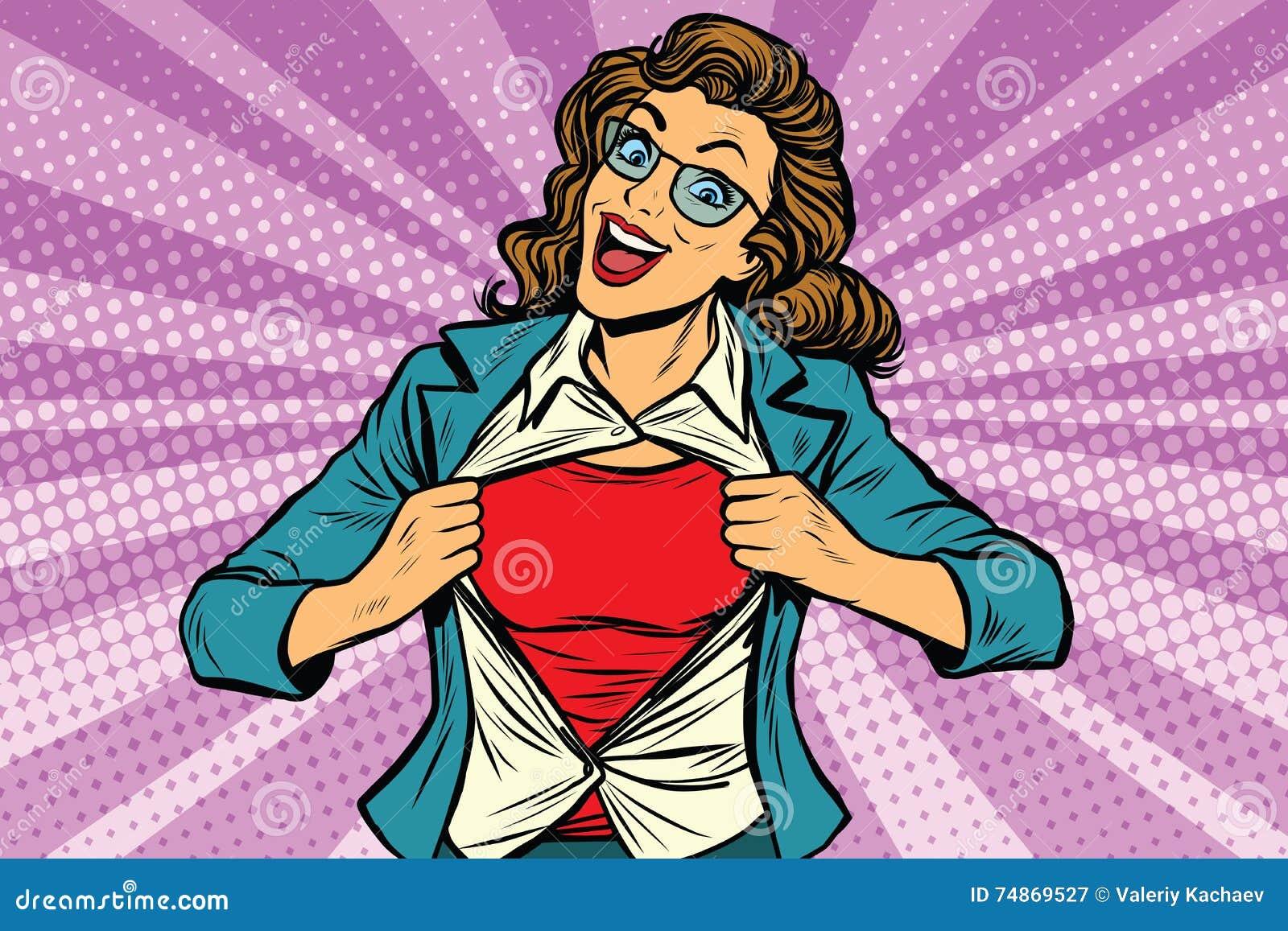 Kvinna för toppen hjälte som river sönder skjortan