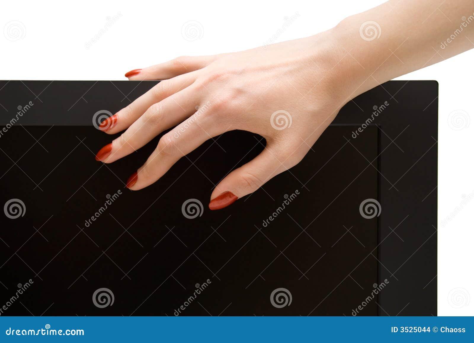 Kvinna för tv för handlcd-skärm