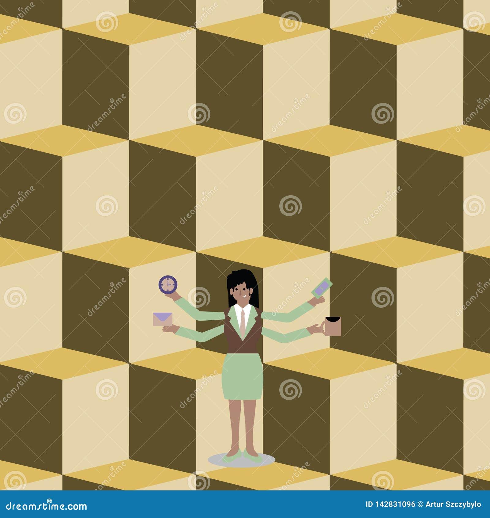 Kvinna i affärsdräkten som står med fyra armar Exending från sidan Affärskvinna med 4 lemmar som rymmer arbetarmaterial