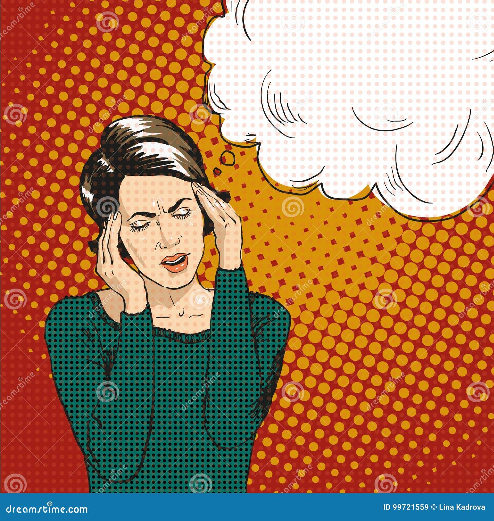 Kvinna i retro komisk stil för popkonst För reaktionsanförande för kvinna oj emotionell bubbla