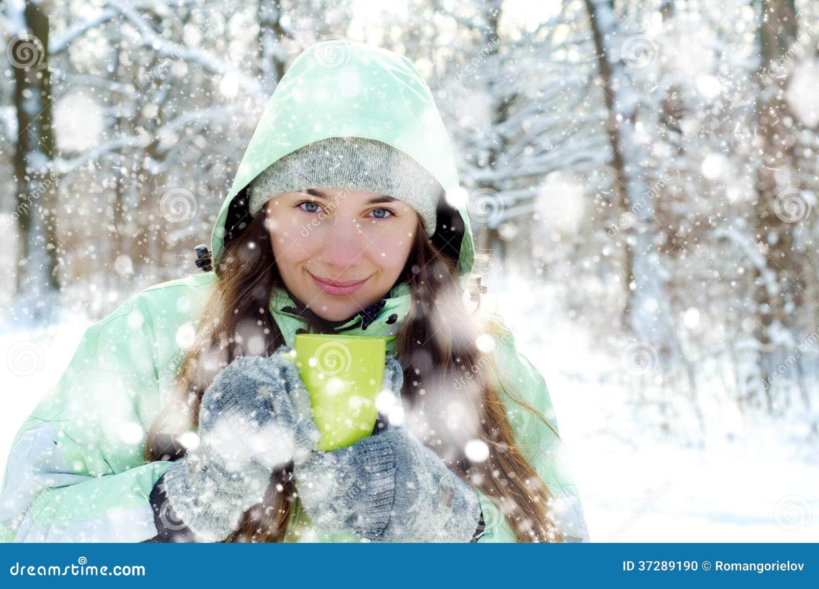 Kvinna i vinter