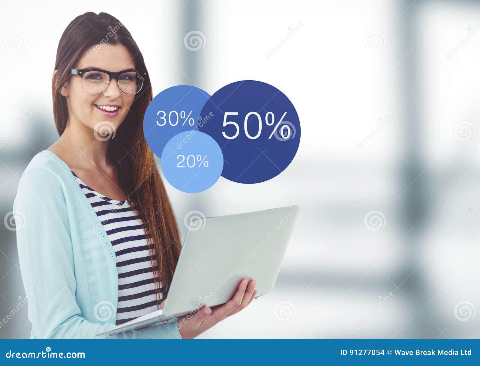 Kvinna med bärbar dator- och blåttstatistik i oskarpt grått kontor