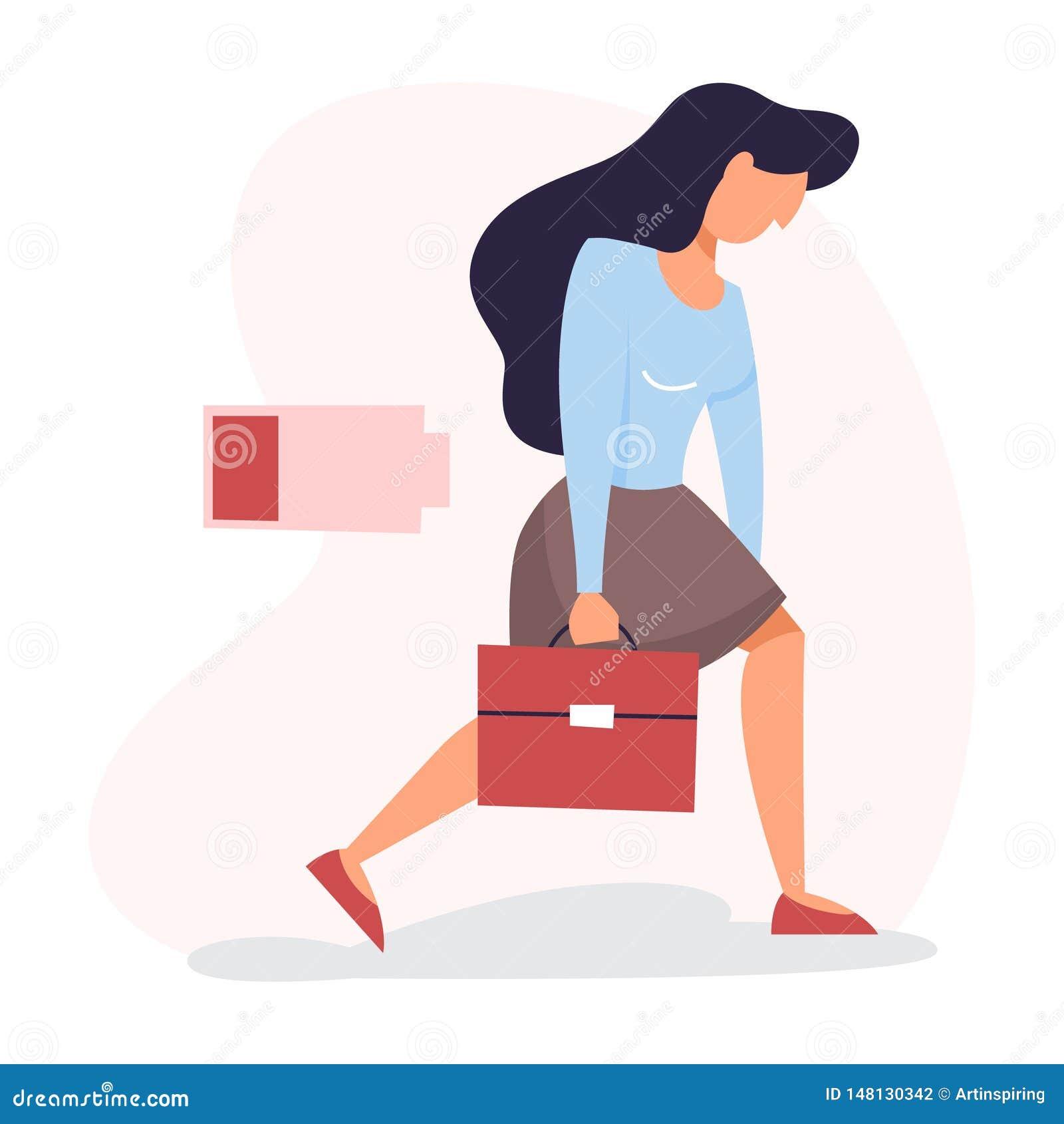 Kvinna med en låg nivå av energi Ledsen trött person