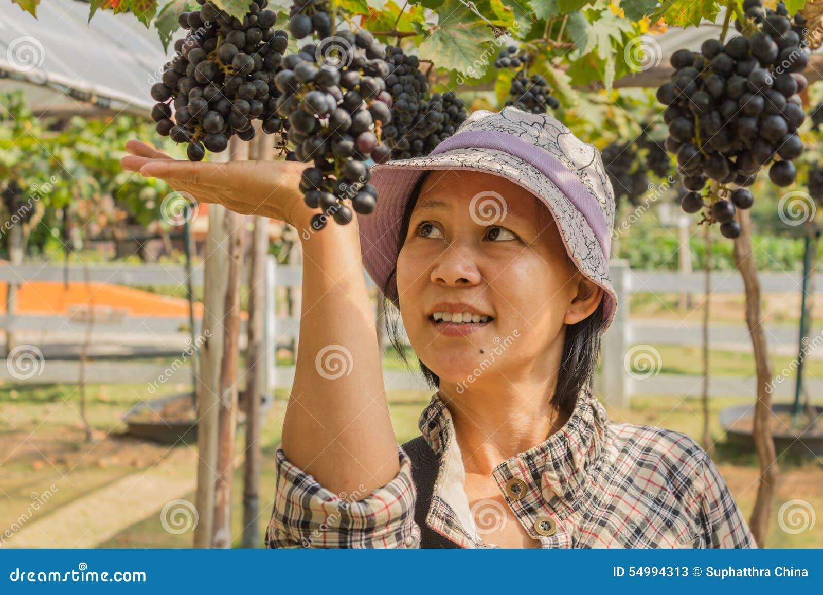 Kvinna med utomhus- druvor