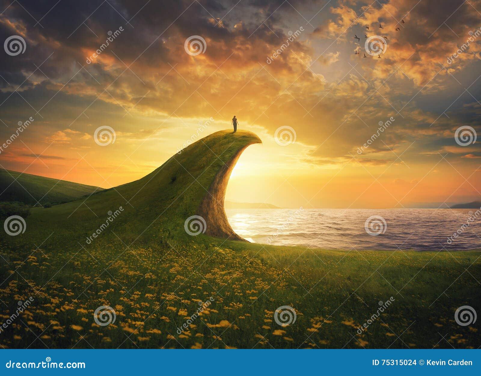 Kvinna på en klippa