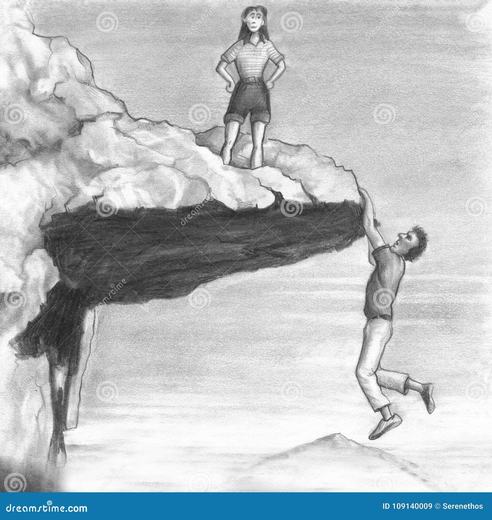 Kvinna på en klippa med en man som hänger från kanten