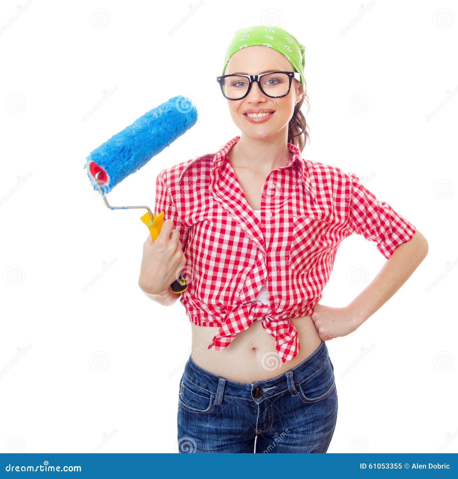 Kvinna på houseworker