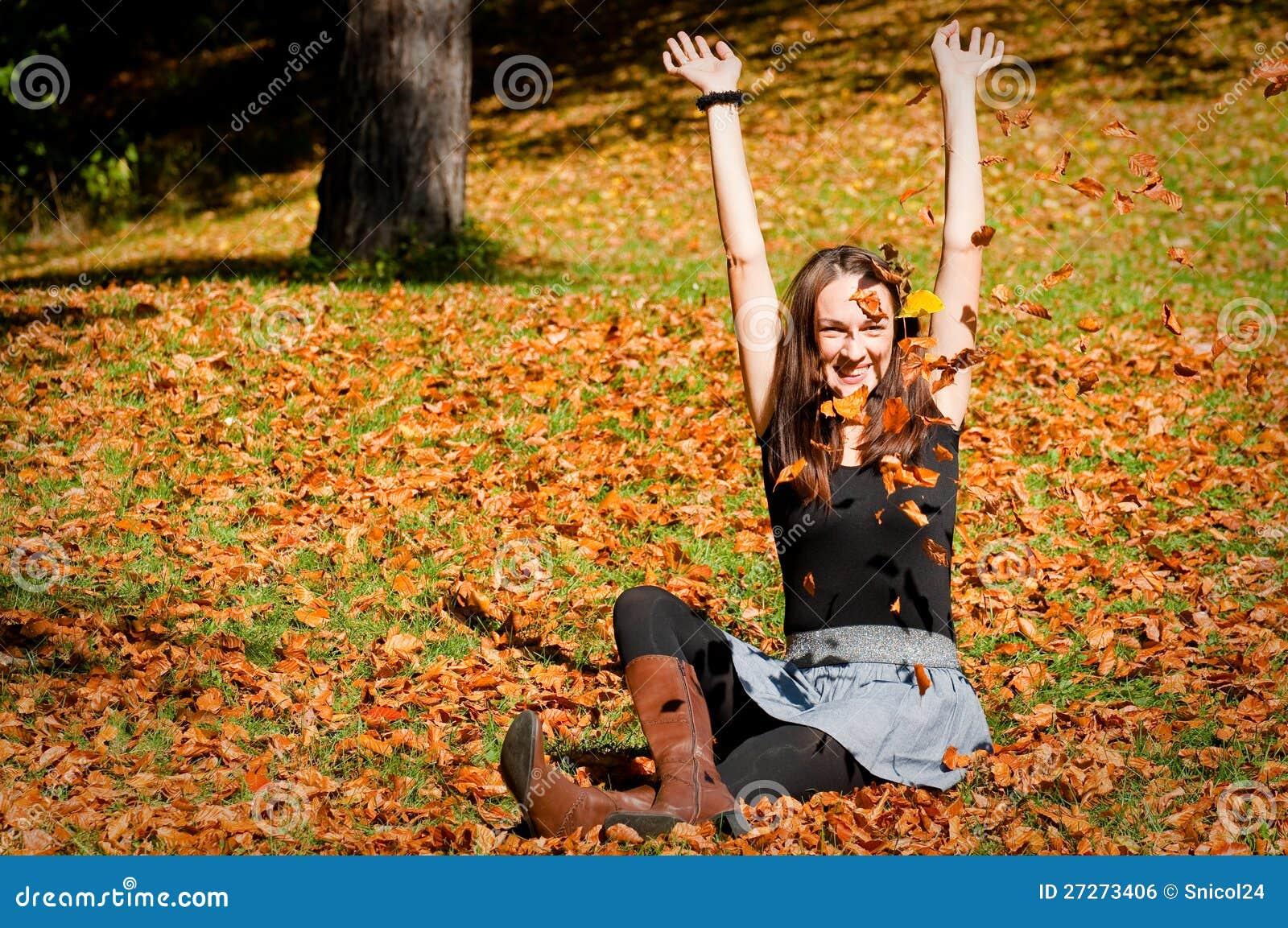 Kvinna på leaves