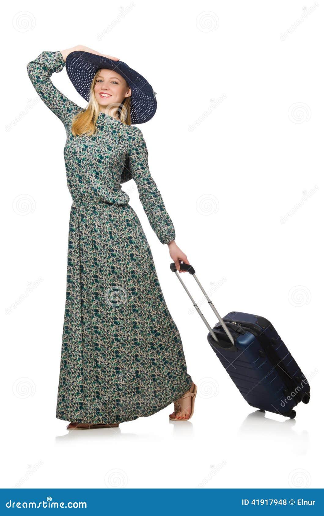 Kvinna som är klar för isolerad sommarferie