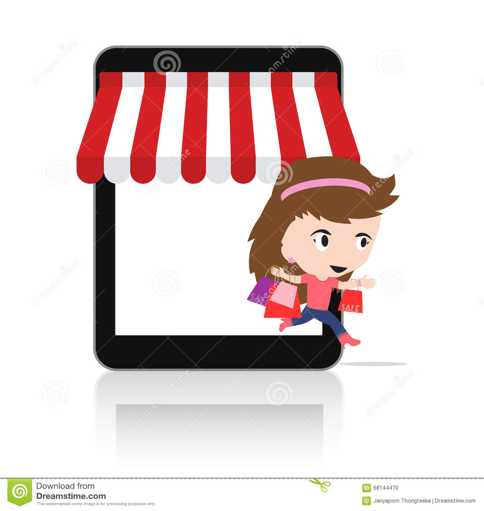 Kvinna som är lycklig att göra shopping via för mobil e-kommers för minnestavla begrepp on-line lager