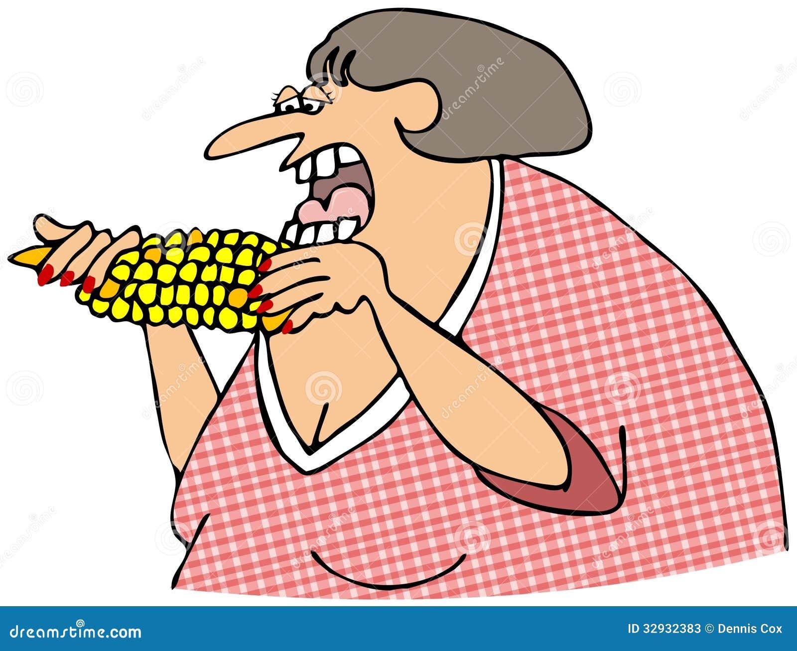 Kvinna som äter havre på majskolven