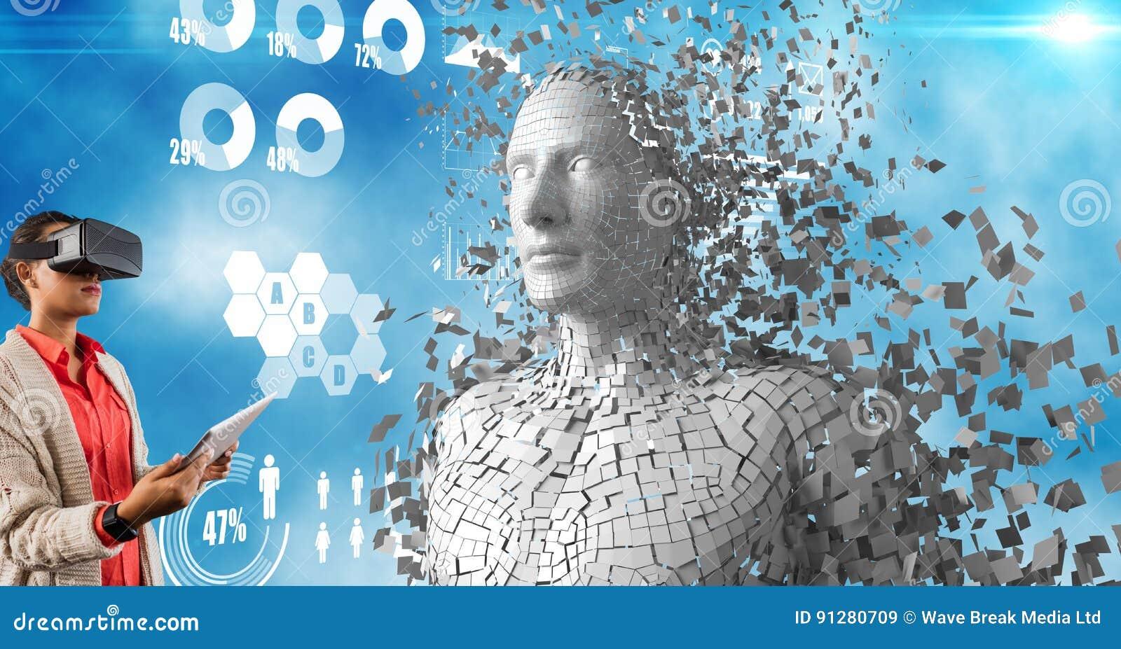 Kvinna som använder faktiska exponeringsglas och minnestavlaPC av människan 3d