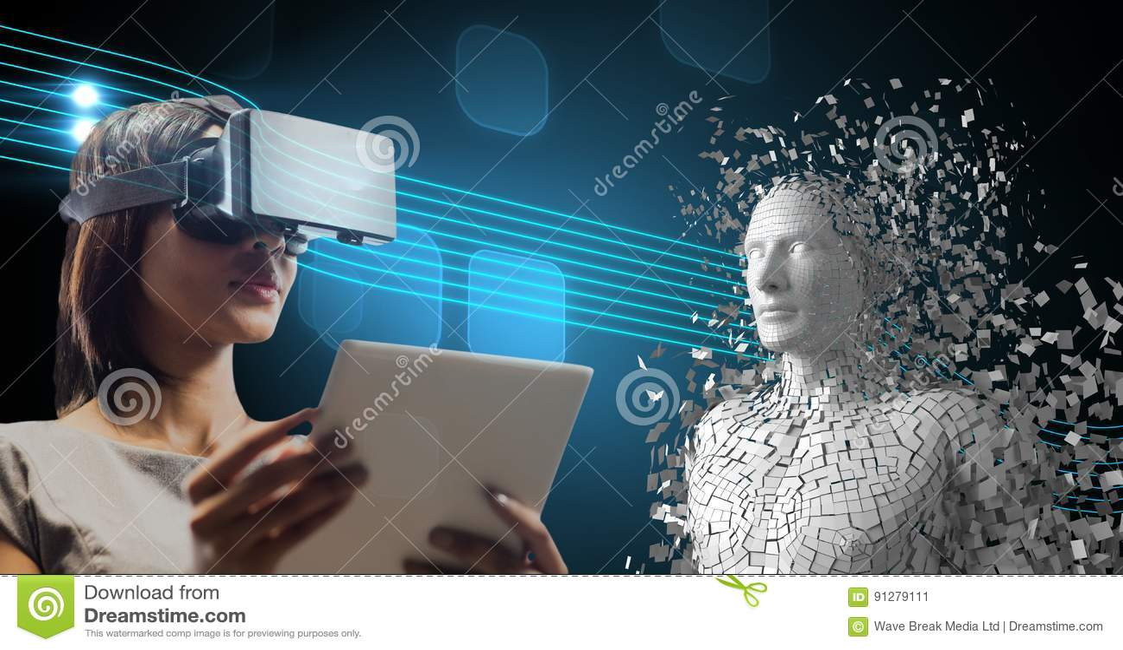 Kvinna som använder VR-exponeringsglas och minnestavlaPC vid det 3d spridda mänskliga diagramet