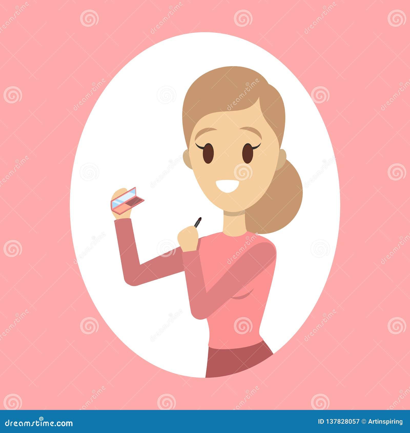 Kvinna som applicerar framsidarodnaden för perfekt makeup