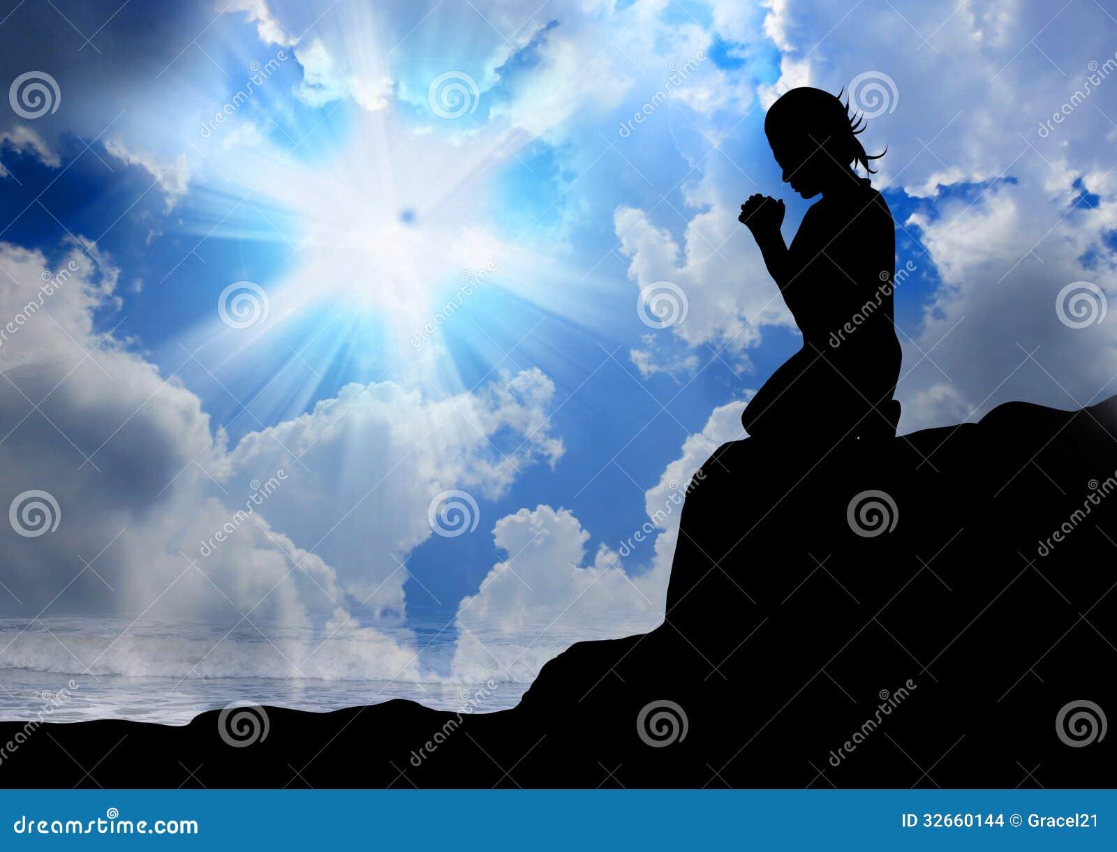 Kvinna som ber till guden