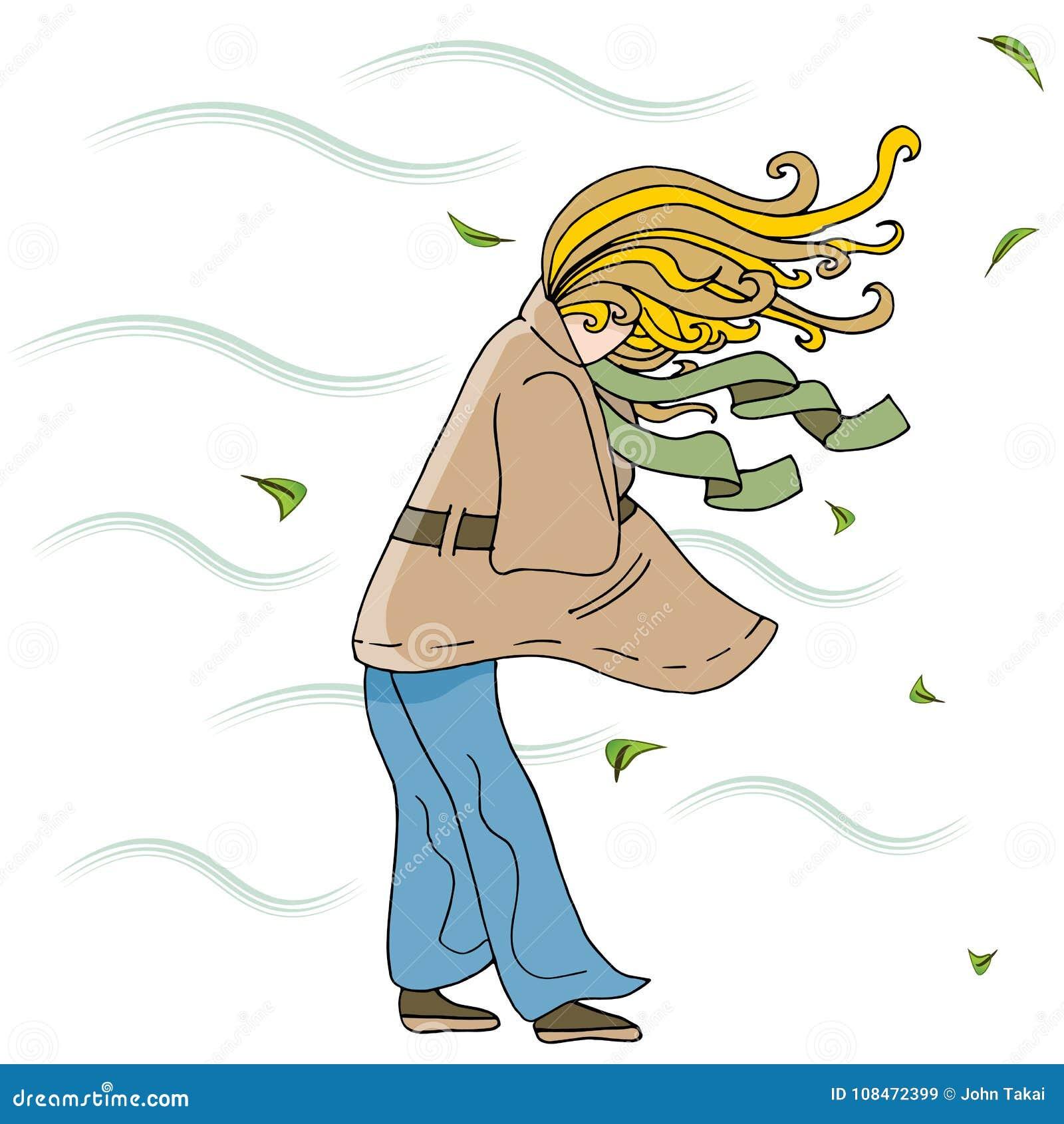 Kvinna som går utanför på en Windy Day Cartoon