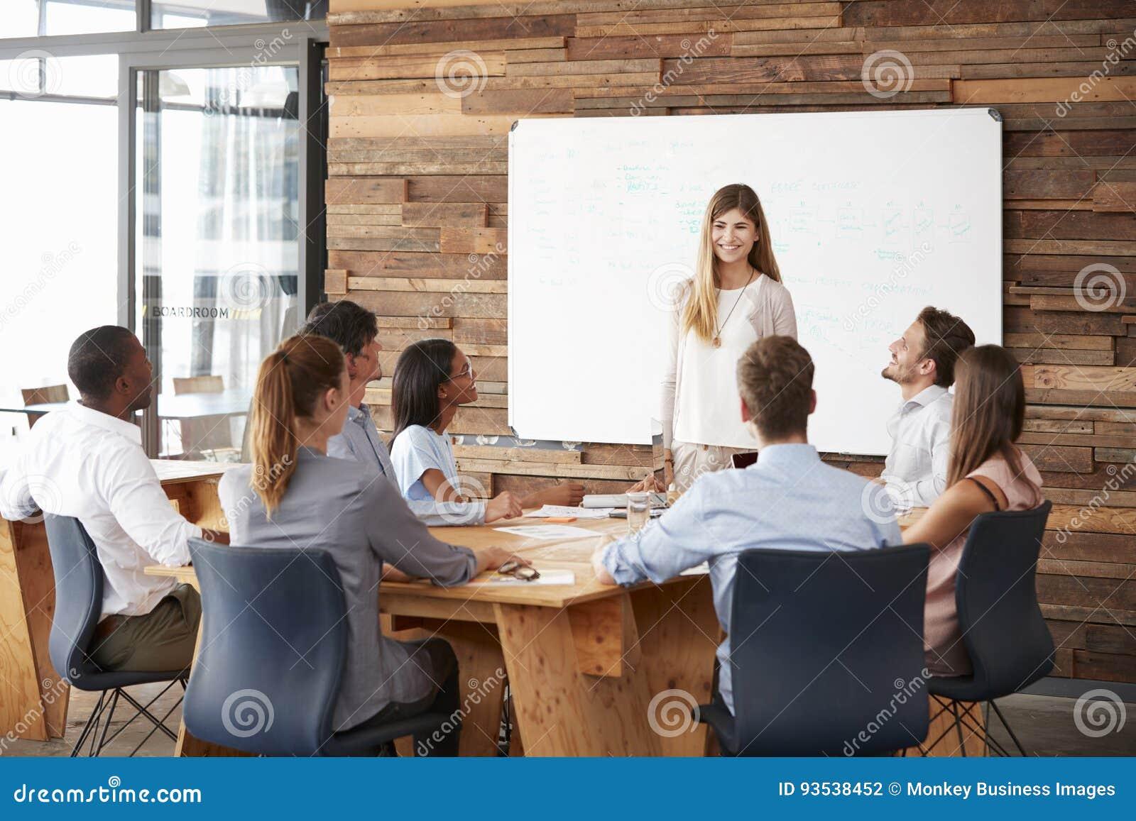 Kvinna som ger en presentation på whiteboarden till affärslaget