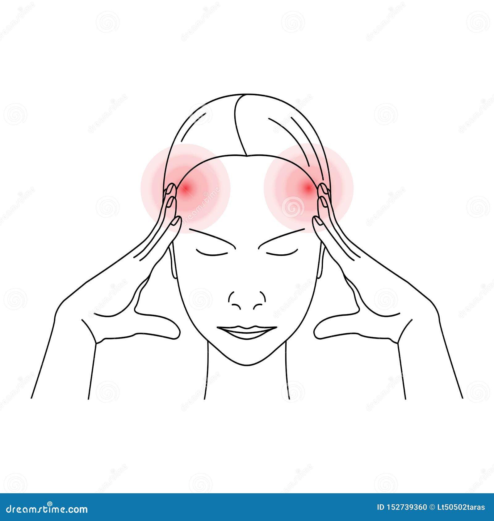 Kvinna som har huvudvärk eller att smärta