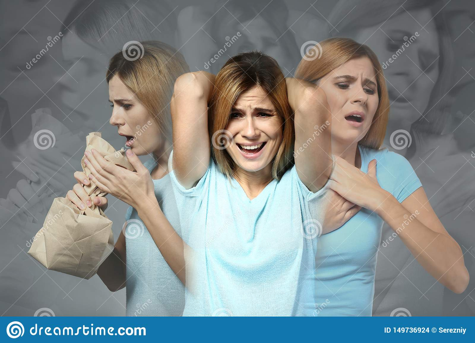 Kvinna som har nödattack på grå bakgrund