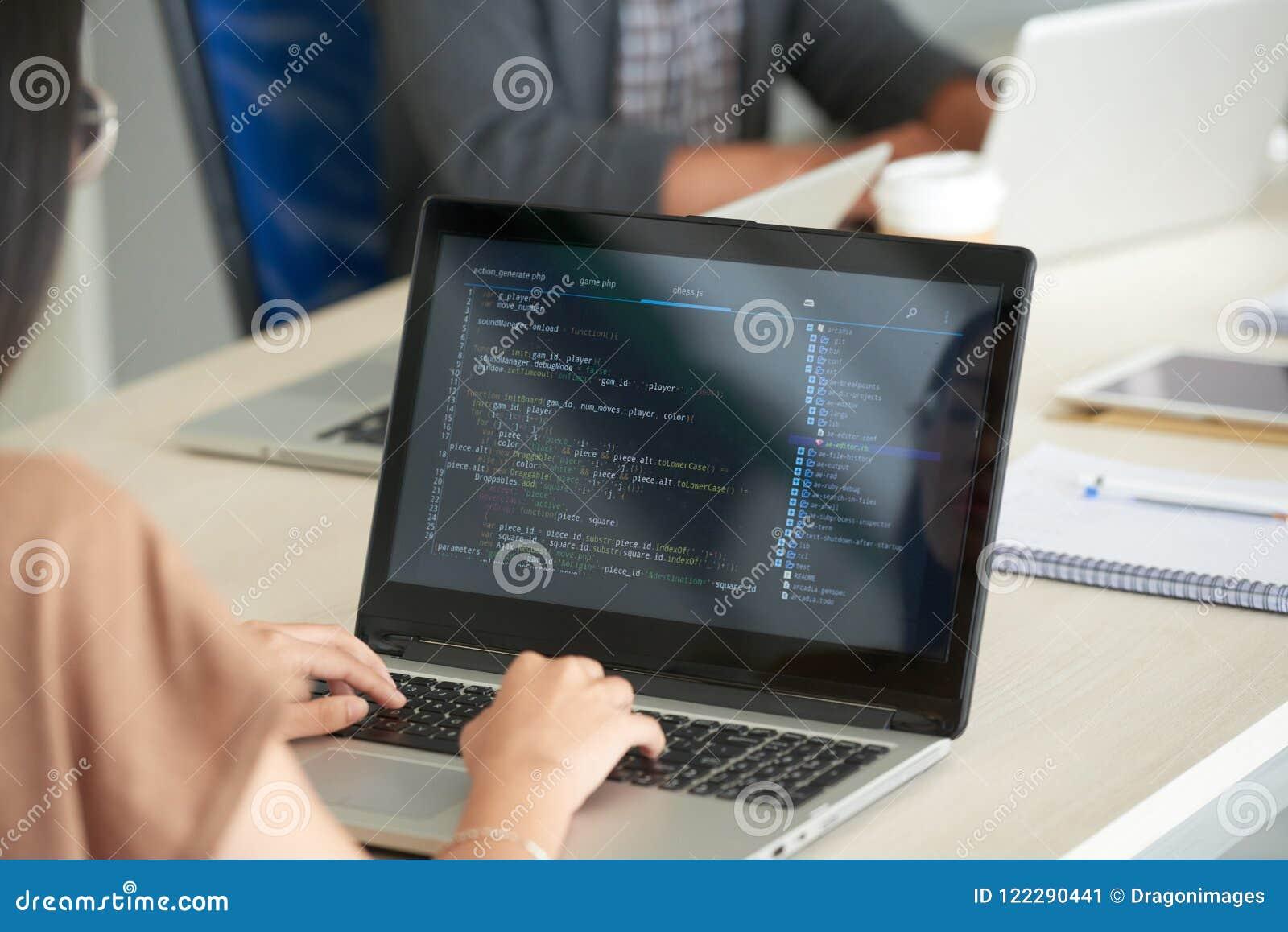 Kvinna som i regeringsställning programmerar på bärbara datorn