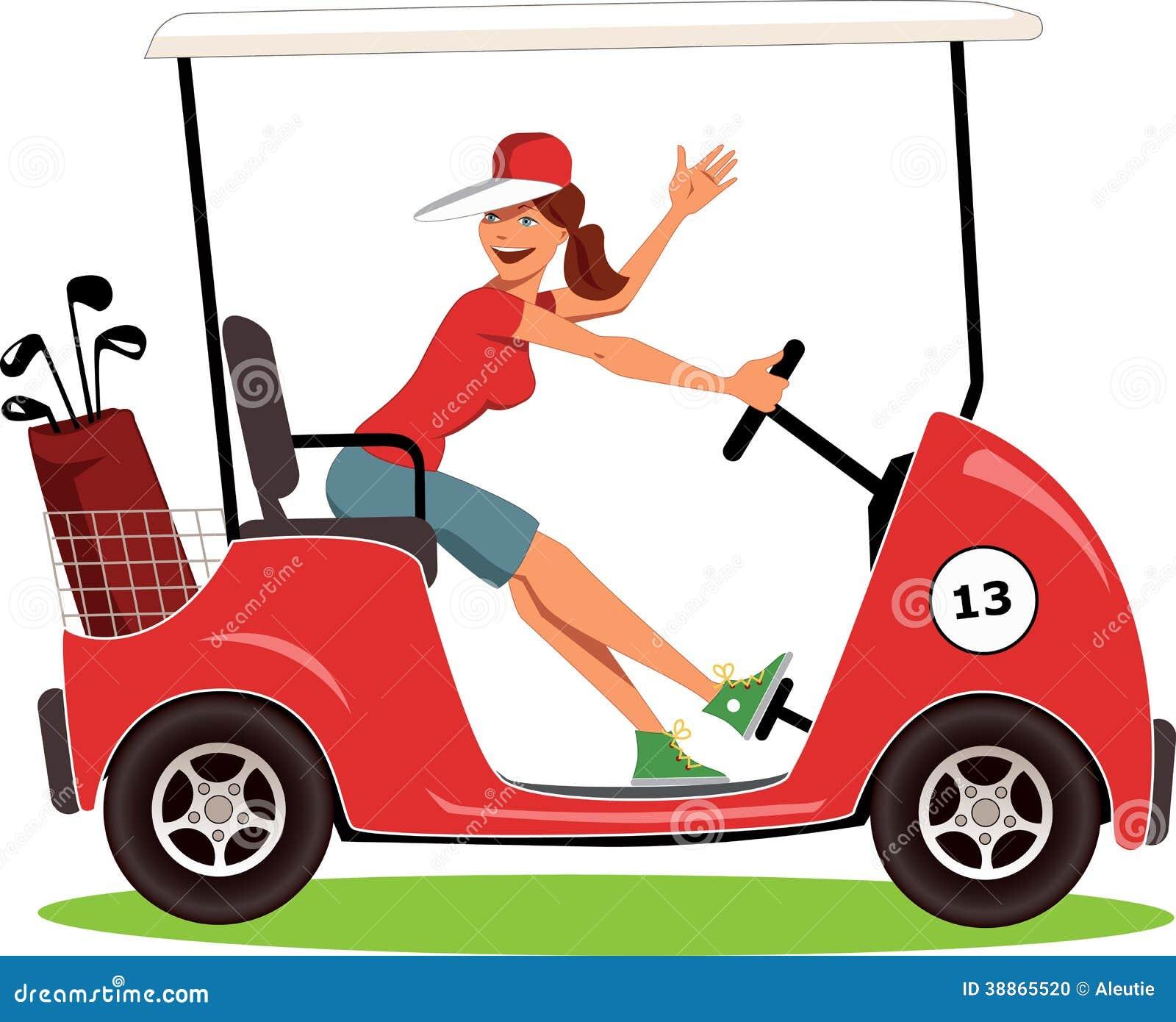 Kvinna som kör en golfvagn