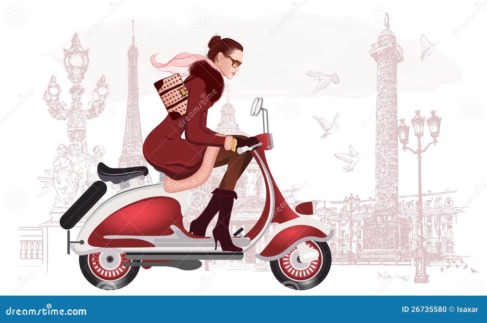 Kvinna som rider en sparkcykel