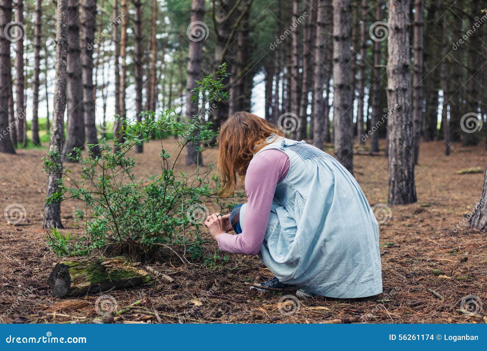 Kvinna som söker efter föda i skog