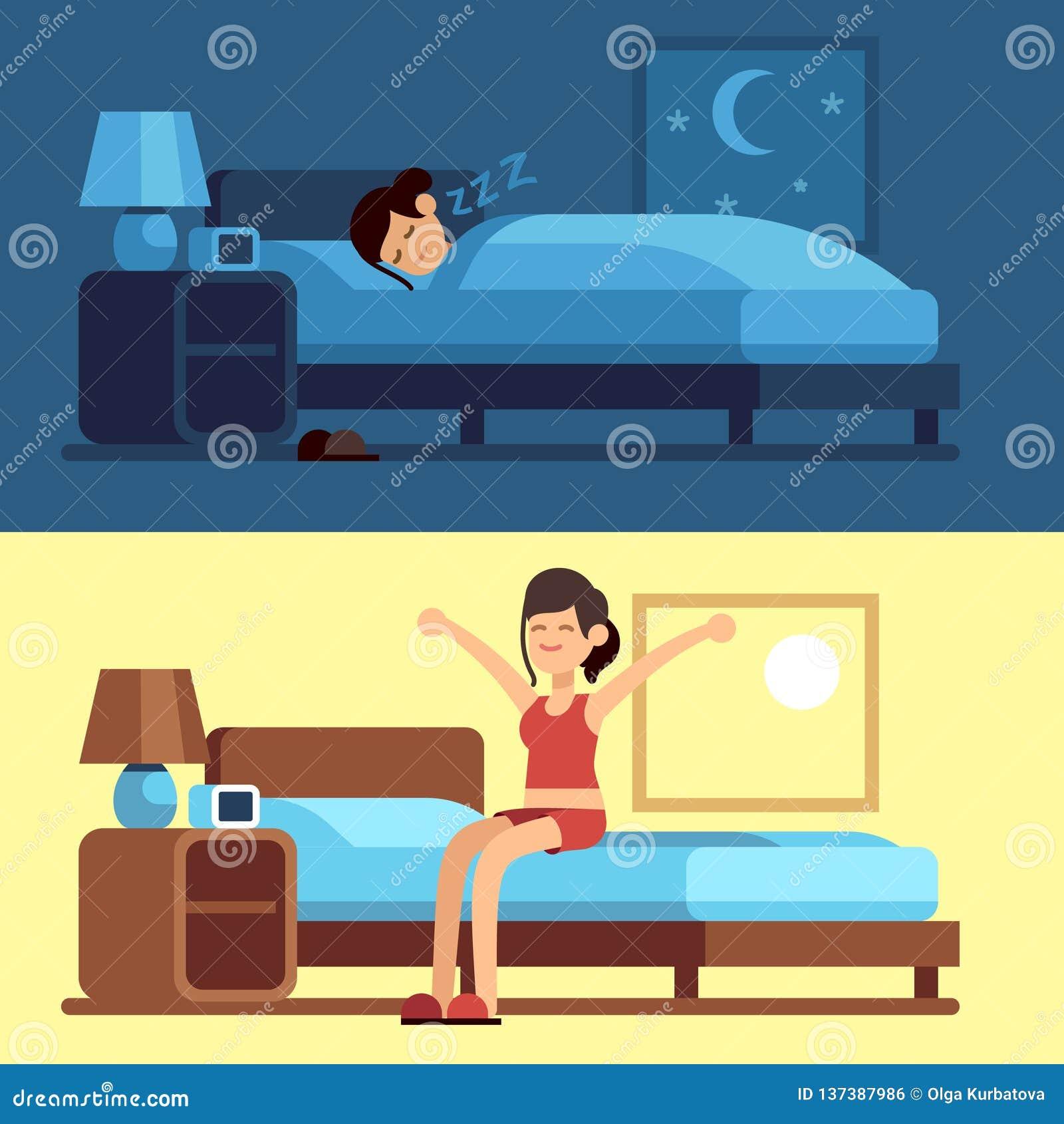 Kvinna som sover att vakna upp Flicka som kopplar av sovrumnatten, vaken morgon som sträcker att sitta på madrassen Kvinnlig bra