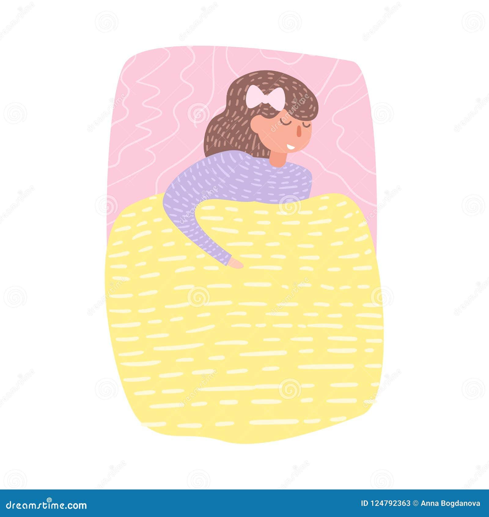 Kvinna som sover i sängvektor cartoon Isolerad konst på vit bakgrund