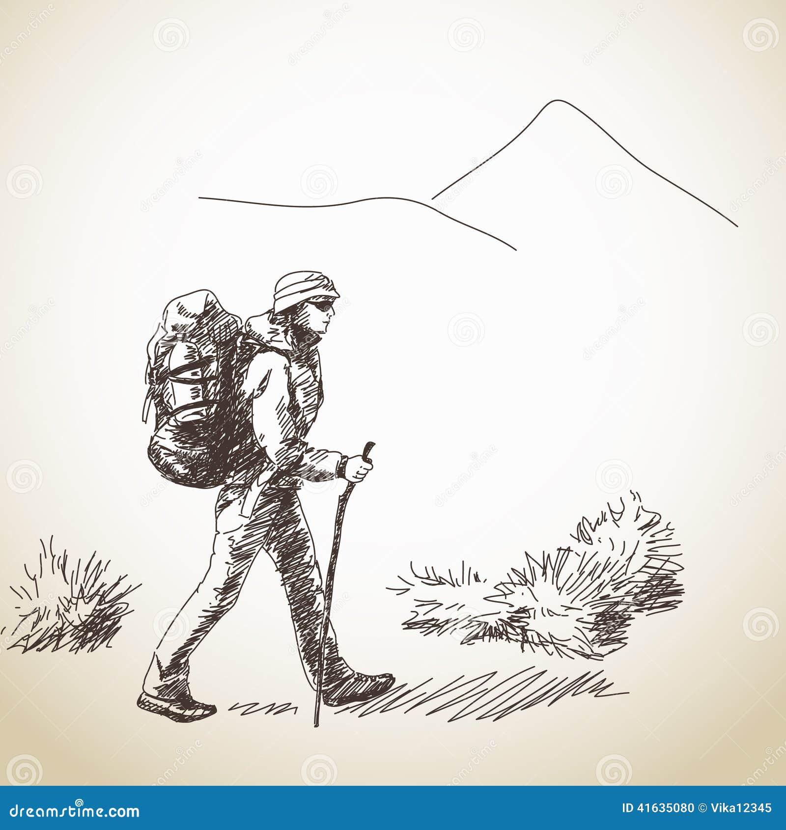 Kvinna som trekking med ryggsäcken