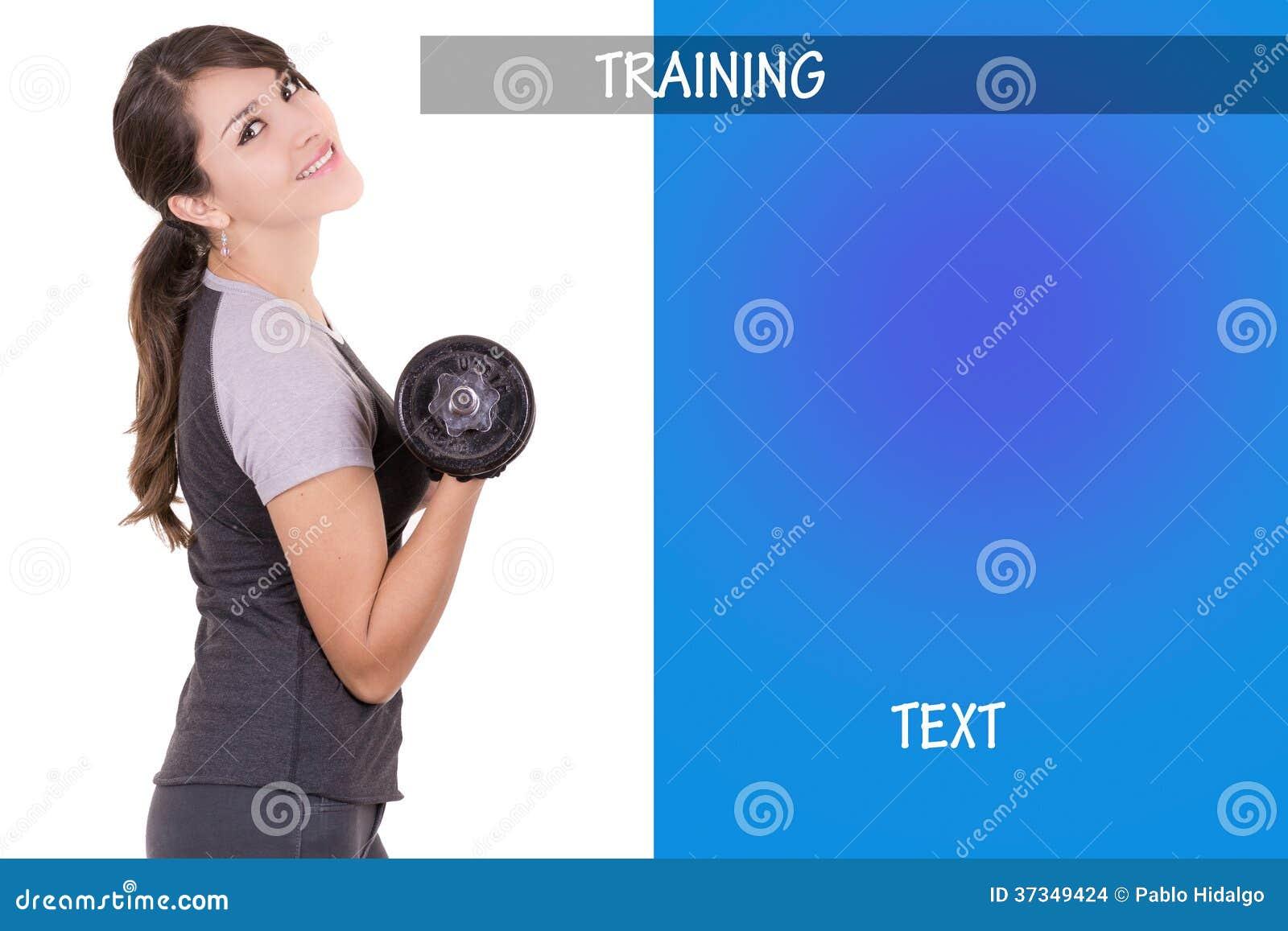 Kvinna som utarbetar med dumbell, annonsdesign
