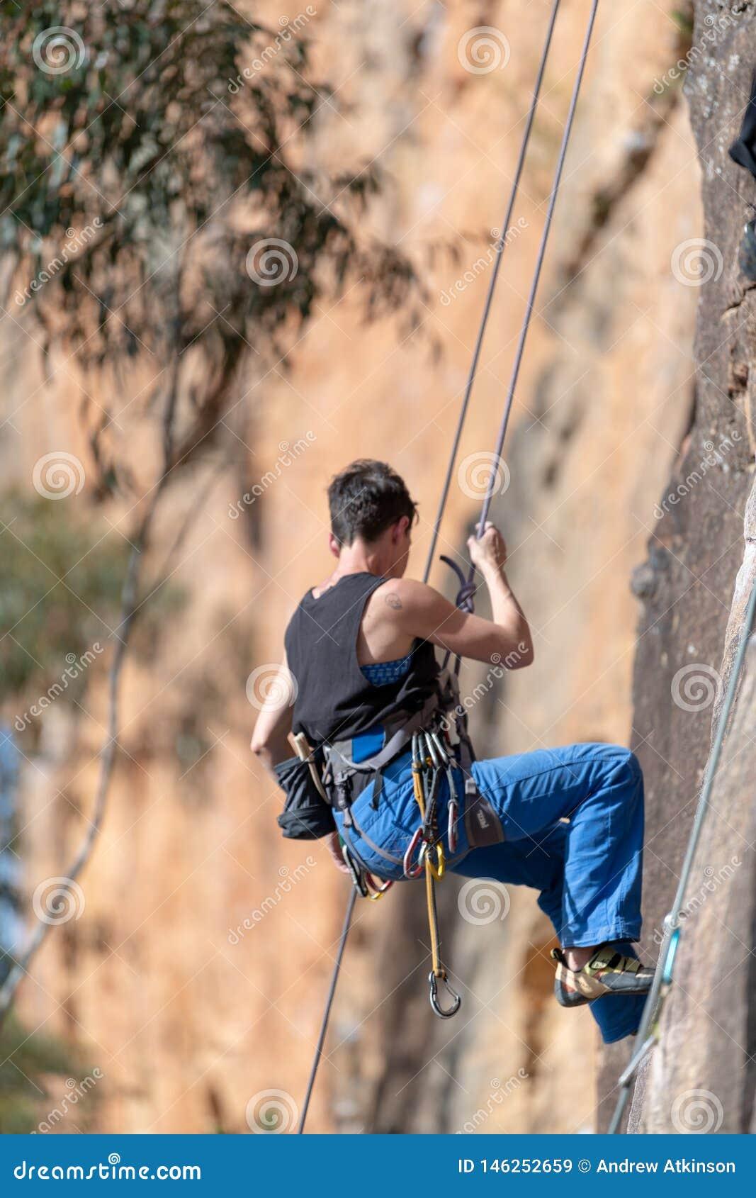 Kvinnaabseils ner vertikal klippaframsida på den väggLedge Porters Pass Centennial Glen strömkretsen