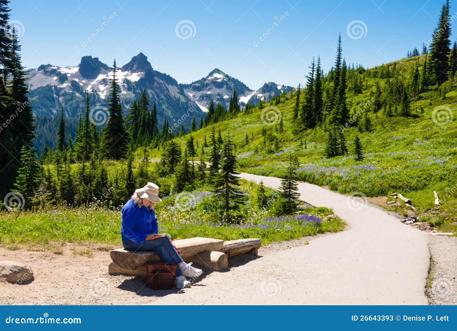 Kvinnaavläsning i berg