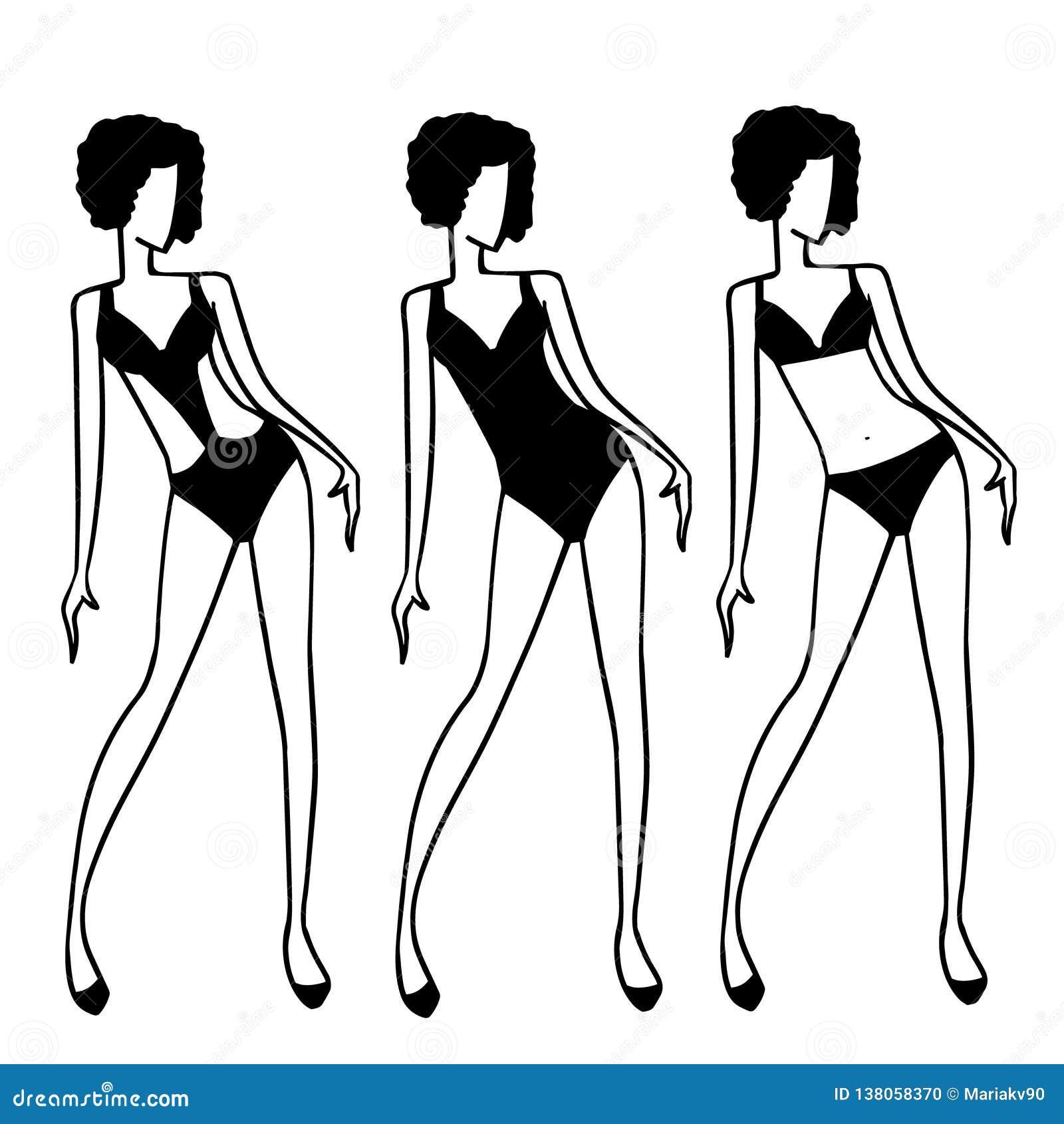 Kvinnadiagram i olik designbaddräkt Enkla svartvita teckningar av kvinnamode