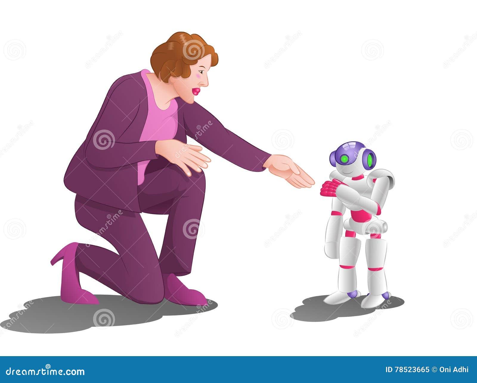 Kvinnaförsök att räcka skakan med en droidrobot på rymdstationrumbakgrund