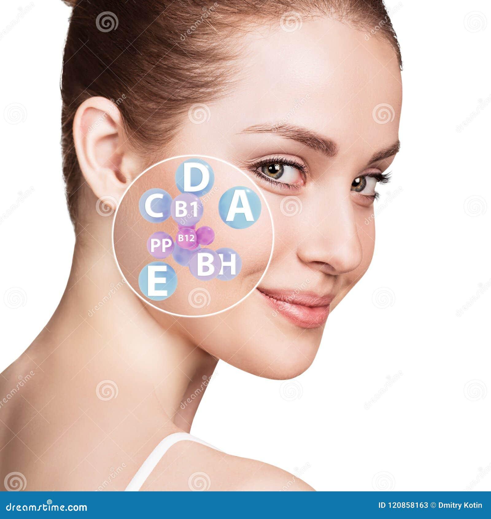 Kvinnaframsida med vitaminsymboler Sunt hudbegrepp