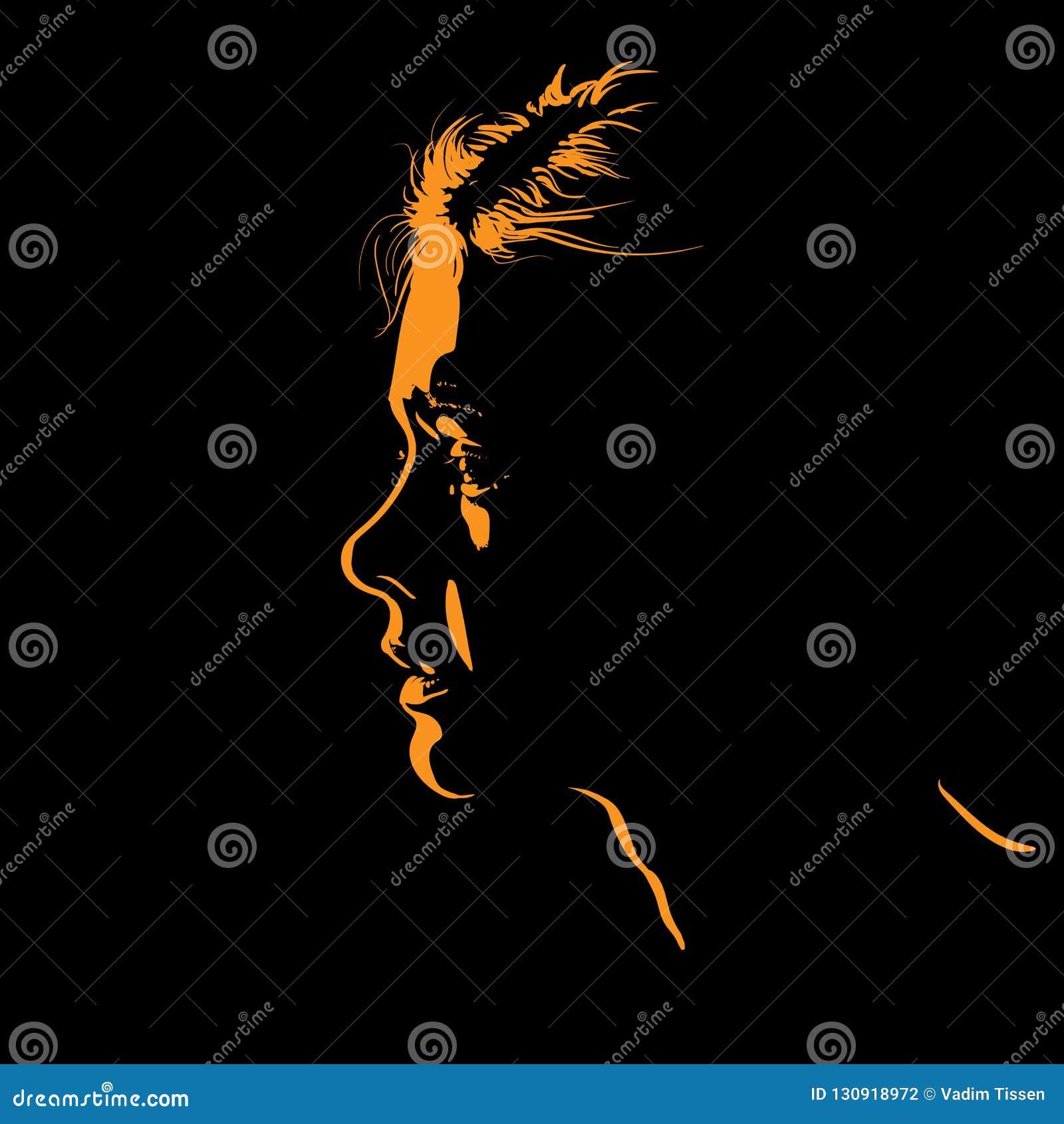 Kvinnaframsidakontur i panelljus vektor illustration