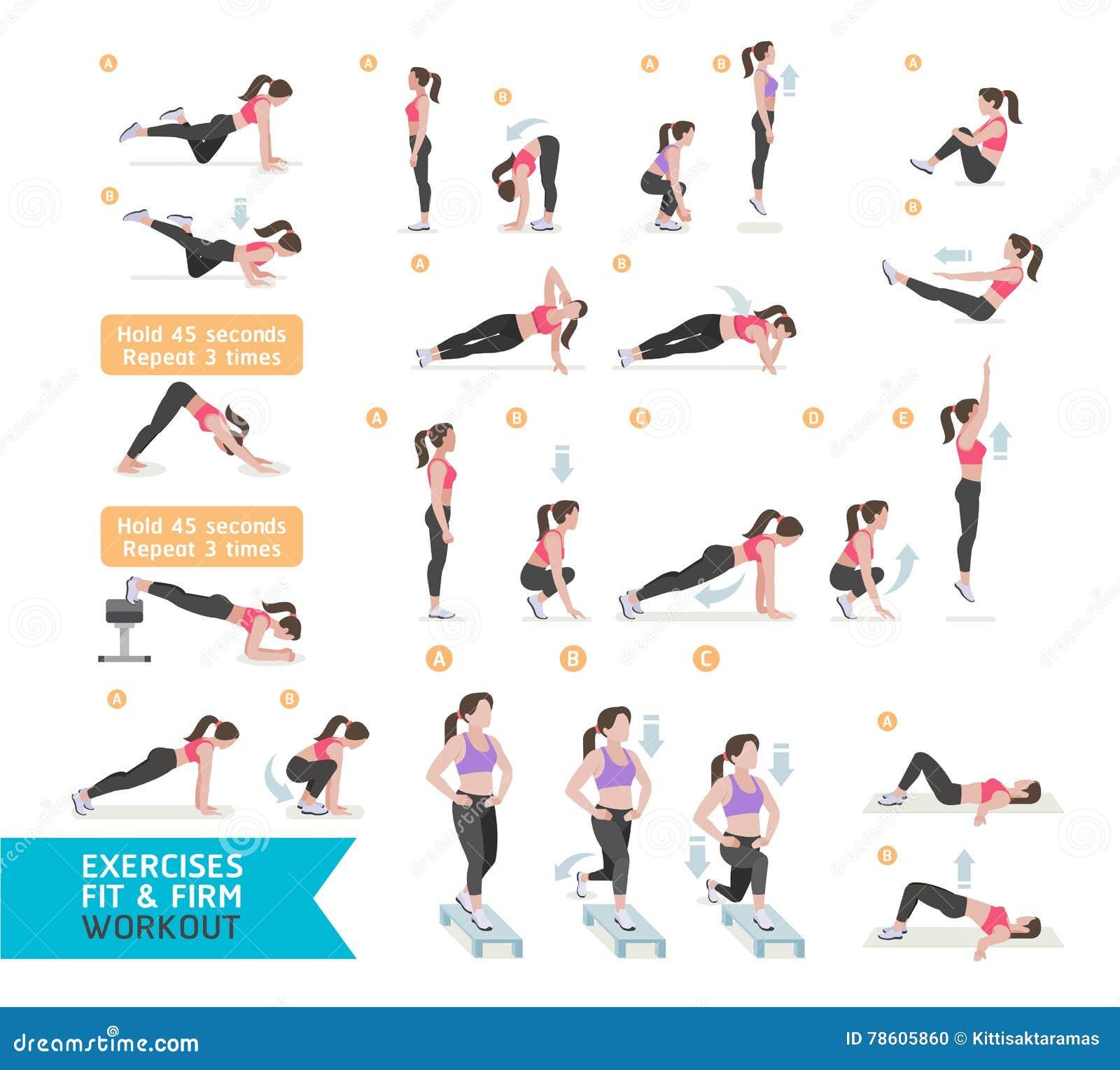Kvinnagenomkörarekondition, aerobiskt och övningar