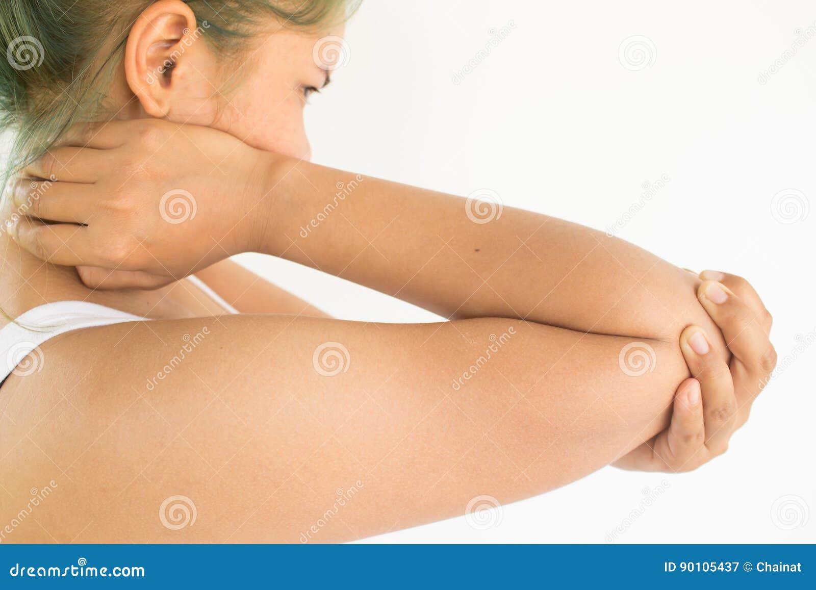 Kvinnalidande från armbåge smärtar