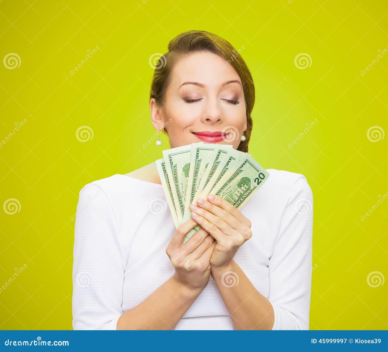 Kvinnan älskar pengar