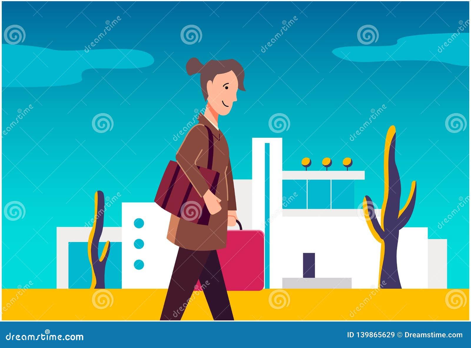 Kvinnan går med bagage Konstillustration