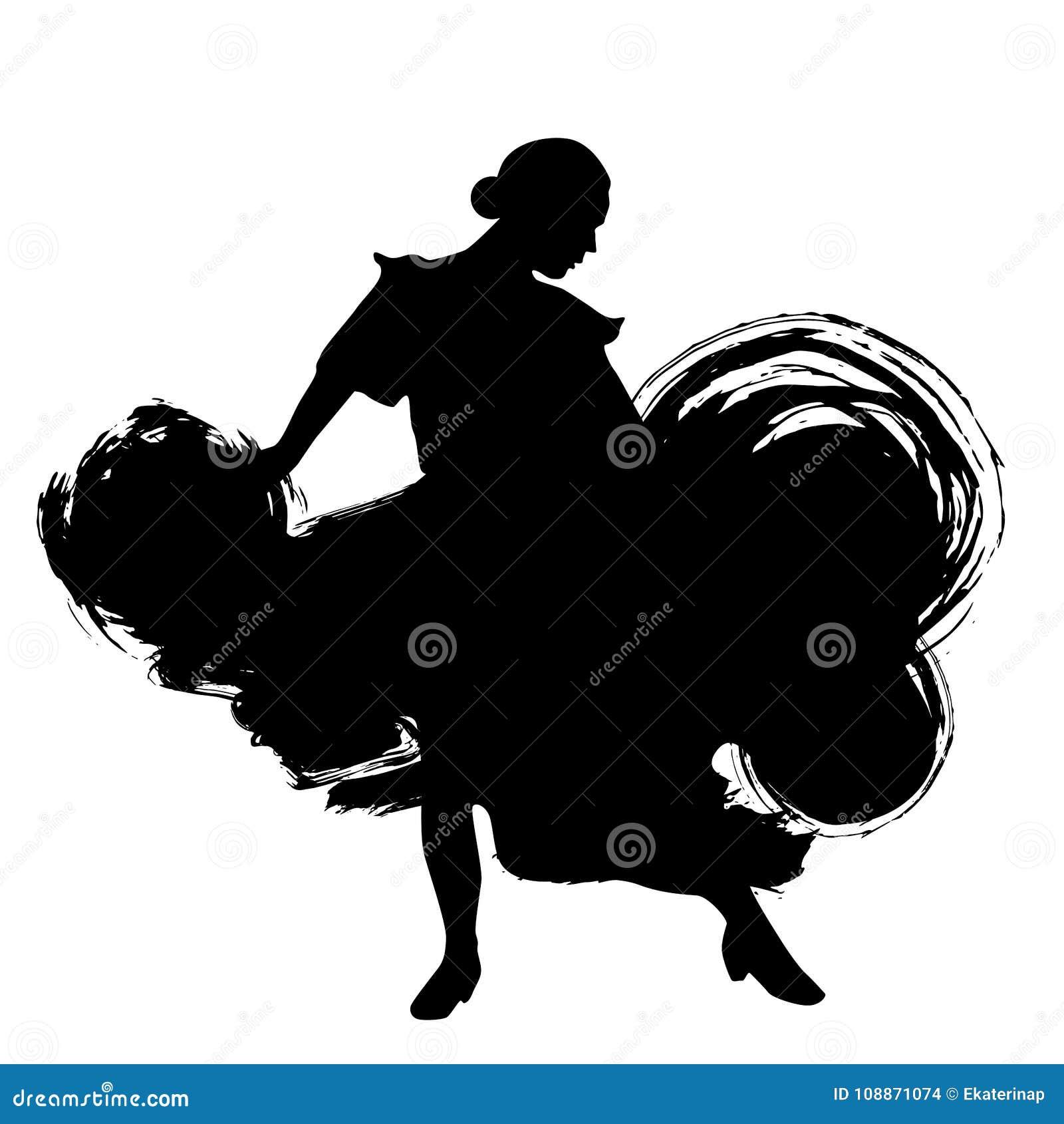 Kvinnan i långt klänningstag i dans poserar flamencodansareSpanish regioner av Andalusia, Extremadura Murcia svart kontur Isola