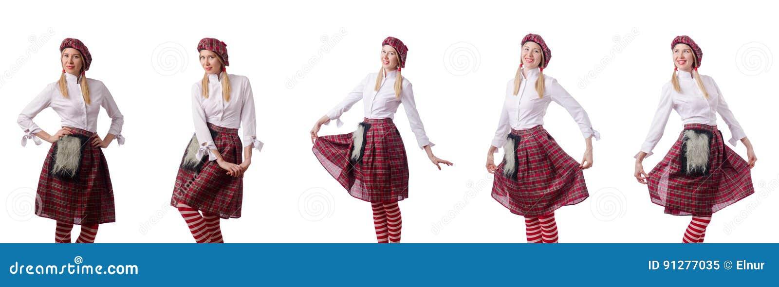Kvinnan i traditionella skotska kläder