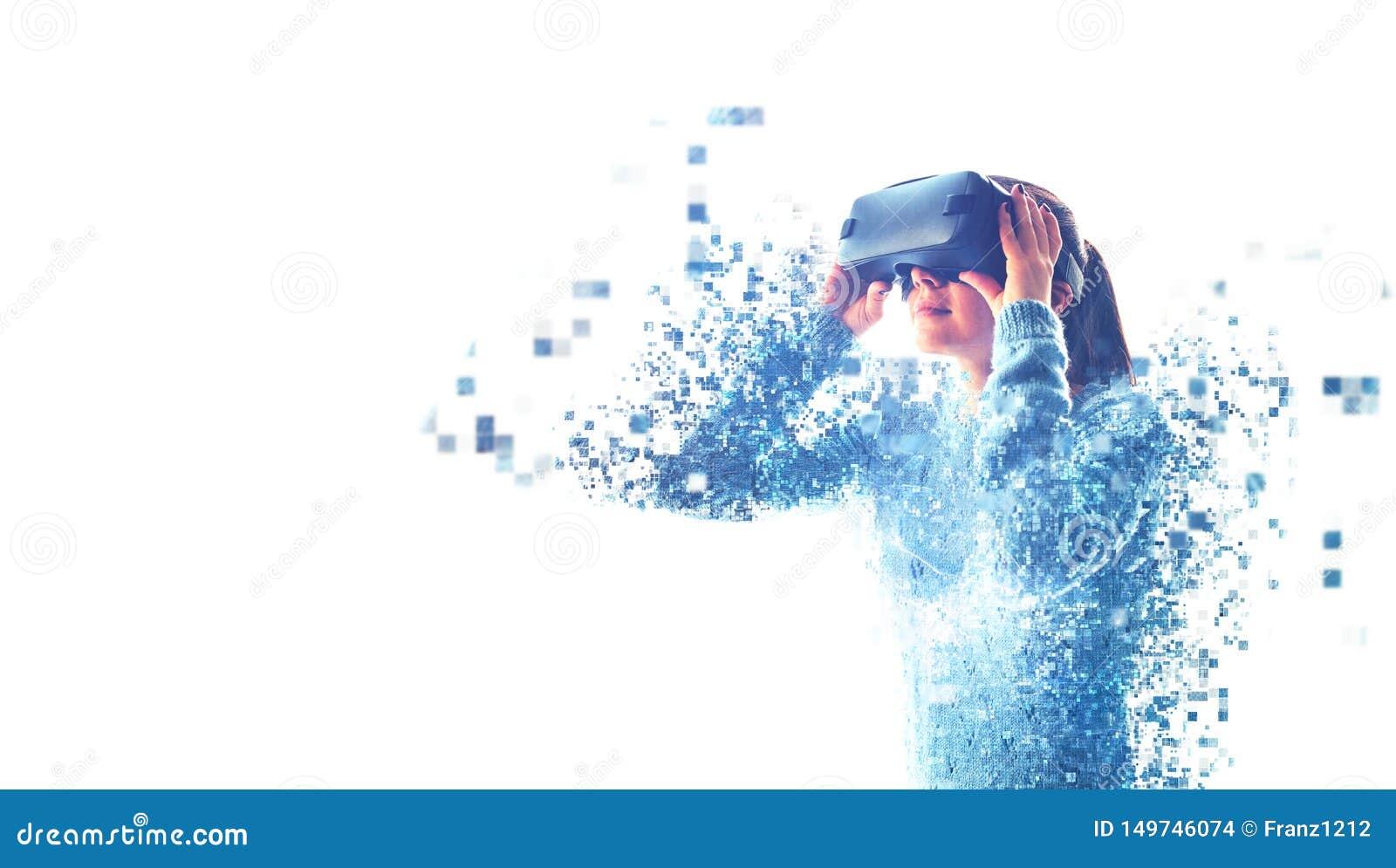 Kvinnan med VR-exponeringsglas