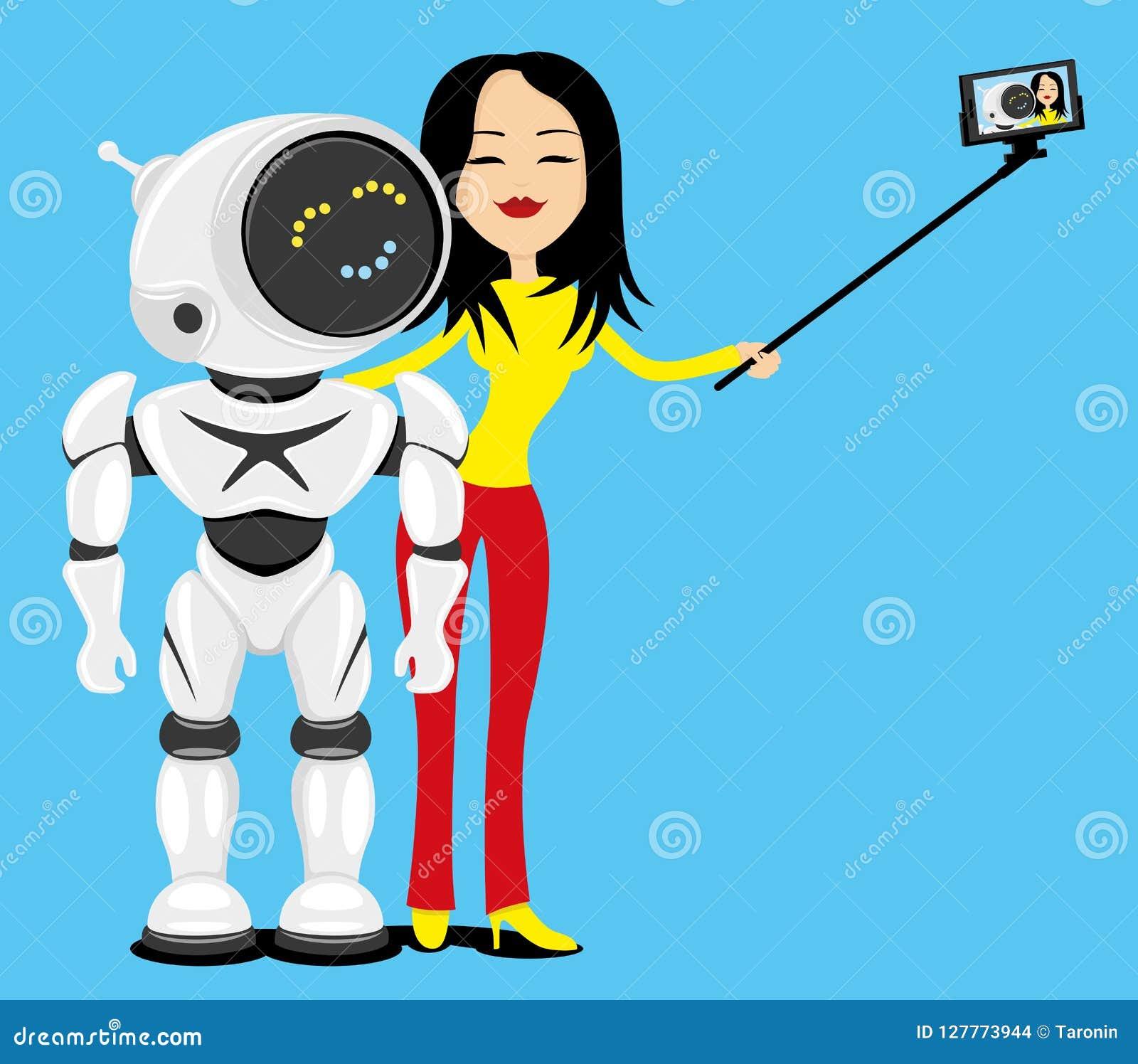 Kvinnan och roboten gör ett foto
